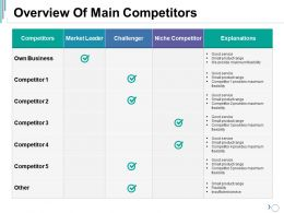 Overview Of Main Competitors Ppt Visual Aids Portfolio