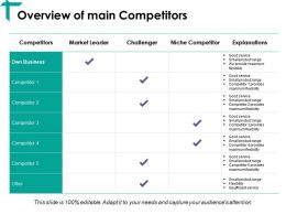 Overview Of Main Competitors Ppt Visual Aids Styles