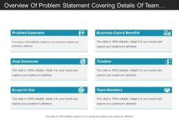 Overview Of Problem Statement Covering Details Of Team Members And Timeline Schedule
