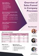 Overview Of Sales Funnel In Company Processes Presentation Report Infographic PPT PDF Document
