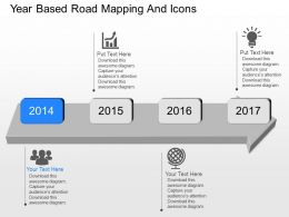 Ow Year Based Road Mapping And Icons Powerpoint Template