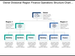Owner Divisional Region Finance Operations Structure Chart With Icons And Boxes