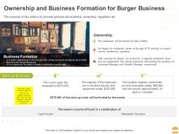Ownership And Business Formation For Burger Business Ppt Powerpoint Presentation Infographics