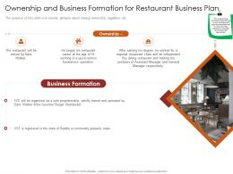 Ownership And Business Formation For Restaurant Busrestaurant Business Plan Restaurant Business Plan Ppt File