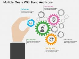 ox Multiple Gears With Hand And Icons Flat Powerpoint Design