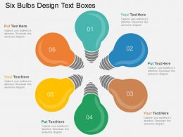 oz Six Bulbs Design Text Boxes Flat Powerpoint Design