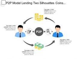 P2p Model Lending Two Silhouettes Coins Magnifying Glass File Sharing Peer To Peer