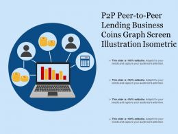 P2p Peer To Peer Lending Business Coins Graph Screen Illustration Isometric