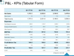 P And L Kpis Tabular Form Ppt Good