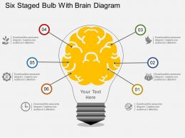 pa Six Staged Bulb With Brain Diagram Flat Powerpoint Design