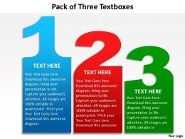 pack of three textboxes powerpoint diagrams presentation slides graphics 0912