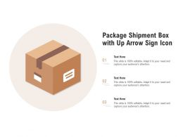 Package Shipment Box With Up Arrow Sign Icon