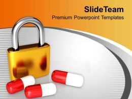 Padlock And Medicine Healthcare Powerpoint Templates Ppt Themes And Graphics 0313