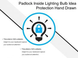 Padlock Inside Lighting Bulb Idea Protection Hand Drawn