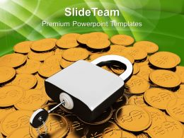 Padlock On Dollar Coins Financial Business Powerpoint Templates Ppt Themes And Graphics 0113