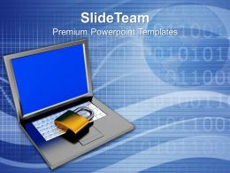 Padlock On Keyboard Data Security And Protection Powerpoint Templates Ppt Themes And Graphics