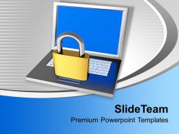 Padlock On Laptop Internet Security Powerpoint Templates Ppt Themes And Graphics 0113