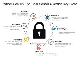 Padlock Security Eye Gear Scissor Question Key Globe
