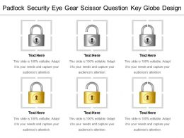 Padlock Security Eye Gear Scissor Question Key Globe Design