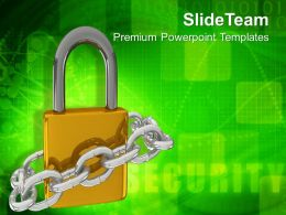 Padlock With Metallic Chain Security Powerpoint Templates Ppt Themes And Graphics 0213