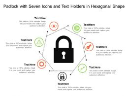 Padlock With Seven Icons And Text Holders In Hexagonal Shape