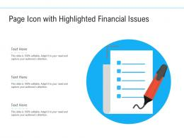 Page Icon With Highlighted Financial Issues