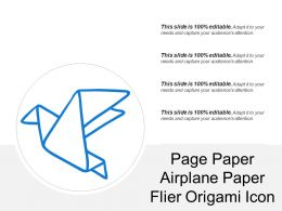 Page Paper Airplane Paper Flier Origami Icon