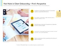 Pain Points In Client Onboarding Firms Perspective Strict Laws Ppt Icons