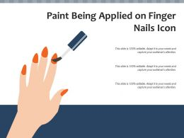 Paint Being Applied On Finger Nails Icon