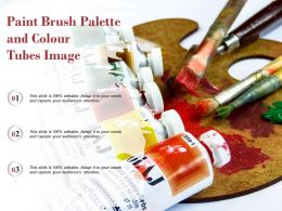 Paint Brush Palette And Colour Tubes Image