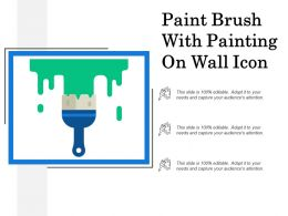 Paint Brush With Painting On Wall Icon
