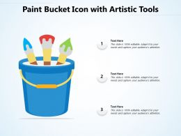 Paint Bucket Icon With Artistic Tools