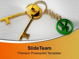 Pair Of Golden Keys With Yen Key Chain PowerPoint Templates PPT Themes And Graphics 0213