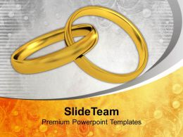 Pair Of Golden Rings Wedding Powerpoint Templates Ppt Backgrounds For Slides 0113