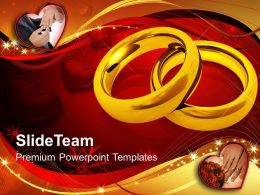 Pair Of Golden Rings Wedding Youth Powerpoint Templates Ppt Themes And Graphics 0113