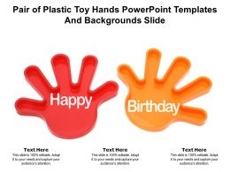 Pair Of Plastic Toy Hands Powerpoint Templates And Backgrounds Slide