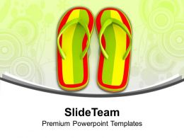 Pair Of Striped Sandals Beachwear PowerPoint Templates PPT Themes And Graphics 0213