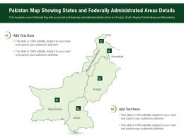 Pakistan Map Showing States And Federally Administrated Areas Details Powerpoint Presentation PPT Template