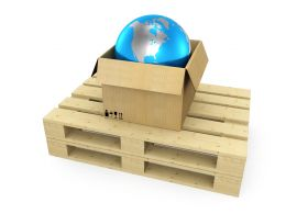 Pallet With Box Globe Inside Stock Photo