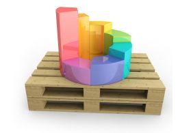 Pallet With Pie Bar Graph Stock Photo