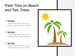 Palm Tree On Beach And Two Trees