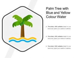 Palm Tree With Blue And Yellow Colour Water