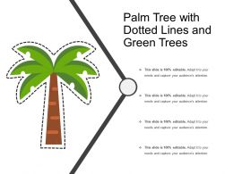 Palm Tree With Dotted Lines And Green Trees