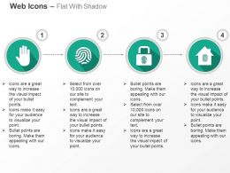 Palm Whorl Fingerprint Lock And Home Secure Ppt Icons Graphics