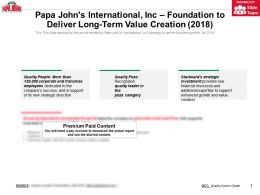 Papa Johns International Inc Foundation To Deliver Long Term Value Creation 2018