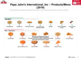 Papa Johns International Inc Products Menu 2019