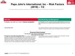 Papa Johns International Inc Risk Factors 2018