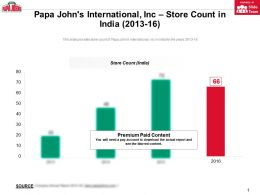 Papa Johns International Inc Store Count In India 2013-16