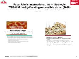 Papa Johns International Inc Strategic Priority-Creating Accessible Value 2018