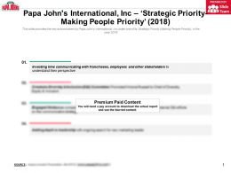 Papa Johns International Inc Strategic Priority Making People Priority 2018
